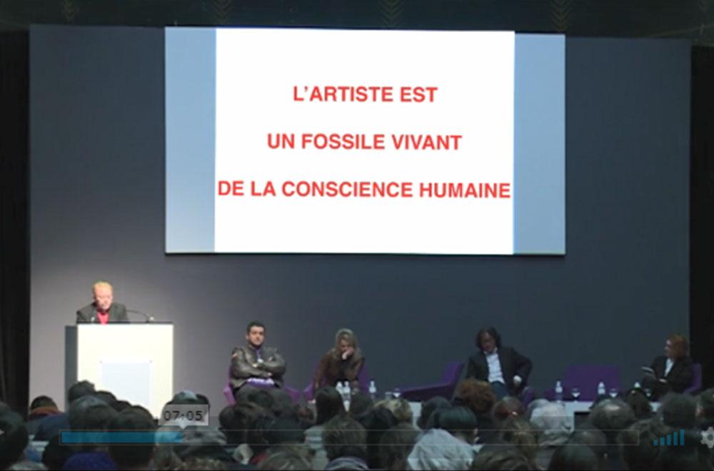 2016년 <예술가의 (무)책임성> 심포지엄 포스터(좌)와 발표 중인 조안 스파(Joann Sfar)(우) 출처: 파리 국립순수미술학교 홈페이지