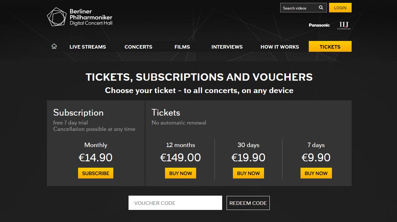 베를린 필하모닉 디지털콘서트홀의 티켓구매(위)와 메트로폴리탄 오페라의 기부 결제 화면(아래) 출처: 각 공식 홈페이지